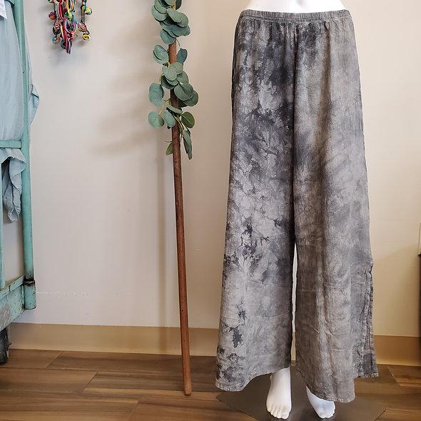 Manta Del Lago Grey Acid Washed Wide Leg Gauze Pants