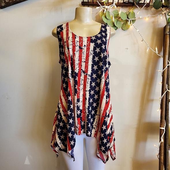 Stars & Stripes Asymmetrical Tunic Tank Top