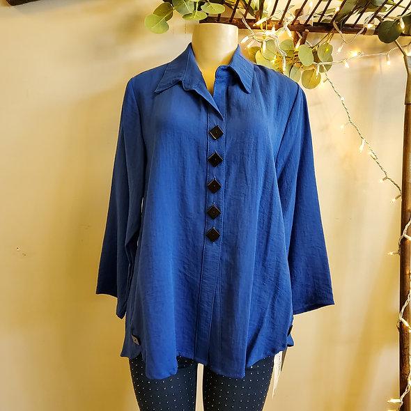 Yushi Blue Button Down Tunic
