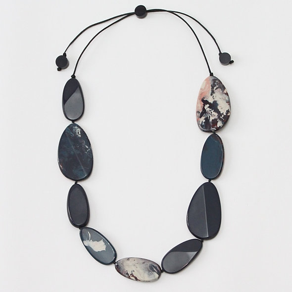 Navy Marble Holly Necklace