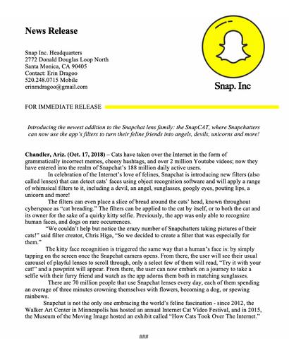 Mock Snapchat Press Release