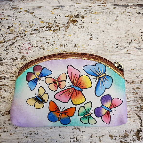 Small Hand Painted Leather Pouch