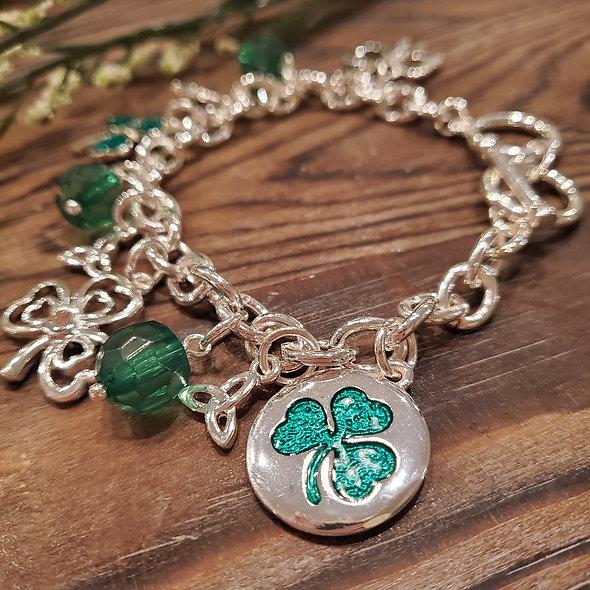 St. Patrick's Day Clover Charm Bracelet