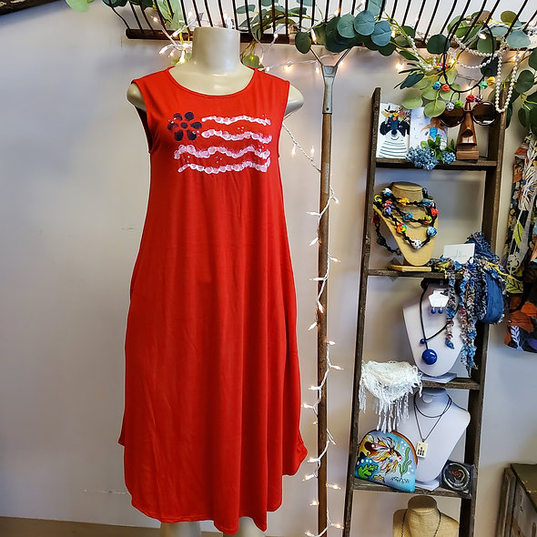 Judy Wear Hand Painted Red Flag Dress