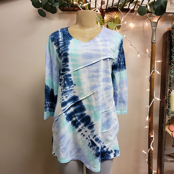 Focus Shades of Blue Tie-Dye Top