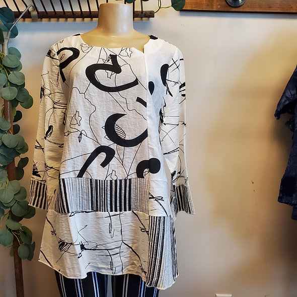 Impulse Black and White Patterned Tunic Top