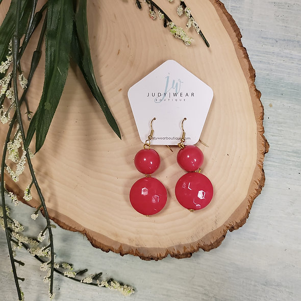 Alisha D. Hot Pink Double Ball Earrings