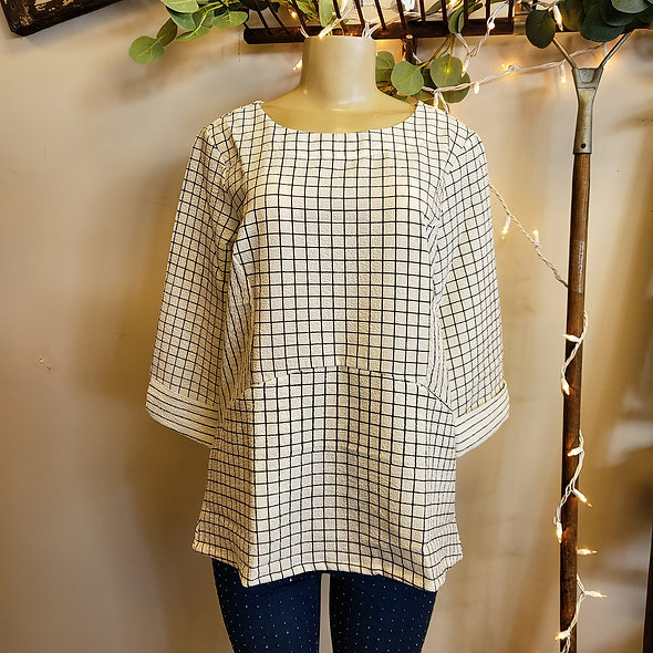 Shana White Windowpane Pocketed Top