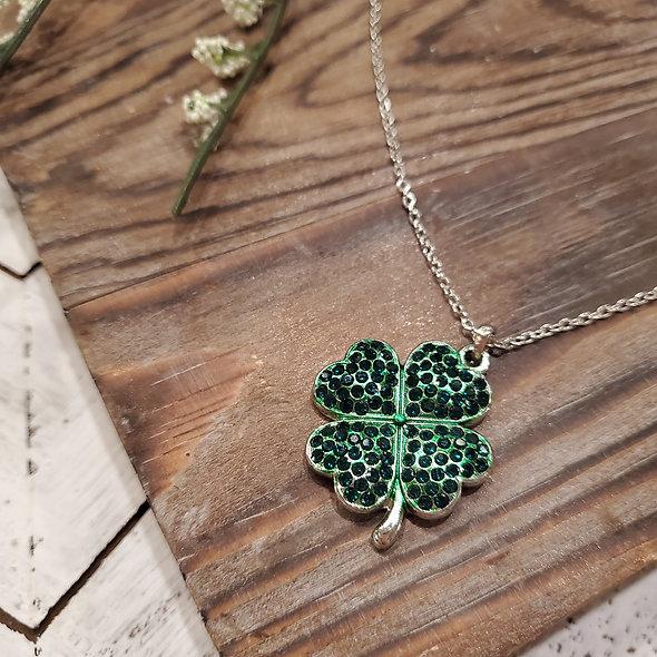 St. Patrick's Day Four Leaf Clover Pendant Necklace