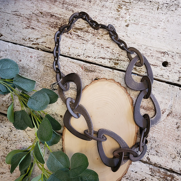 Alisha D. Large Textured Brown Resin Necklace