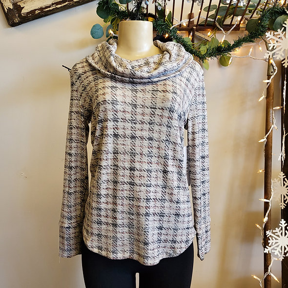 Tribal Grey and Mauve Plaid Cowl Neck Sweater