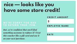 Judy Wear Store Credit Voucher Back