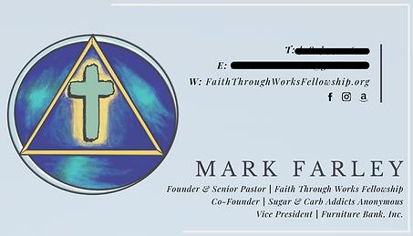 Pastor Mark Farley Business Cards Back