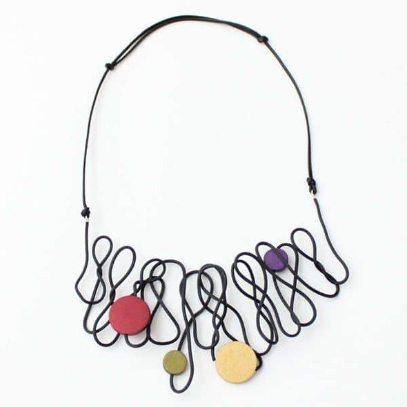 Artistic Black and Multi Rubber Tubing Necklace