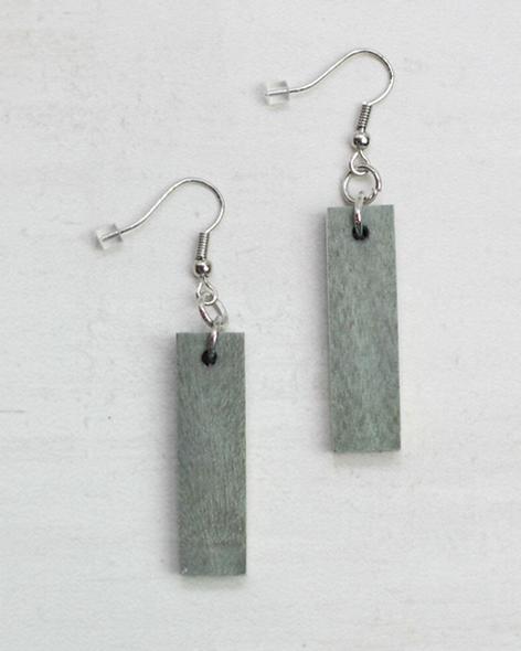 Greenish Grey Rectangular Dangle Wooden Earrings