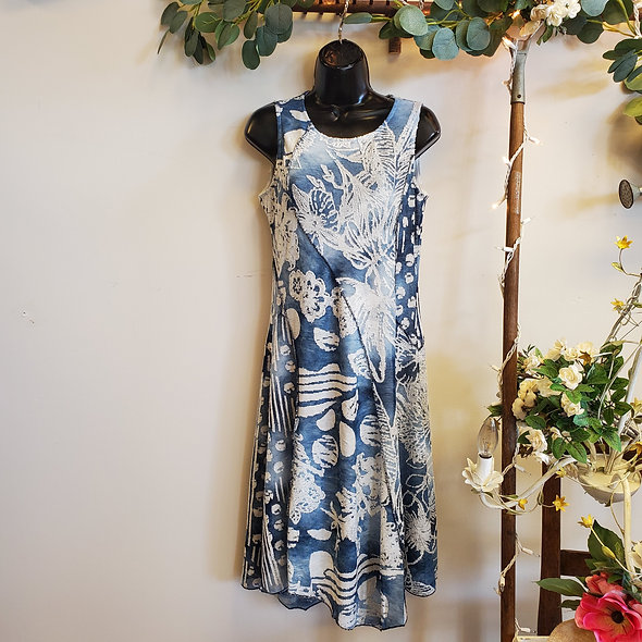 Shana Sleeveless Blue Polka Dot and Floral Dress