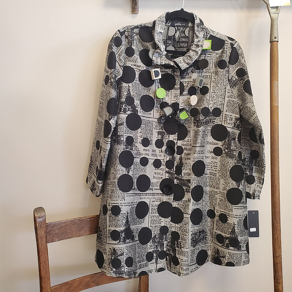 Yushi Newspaper Print Coat Tunic