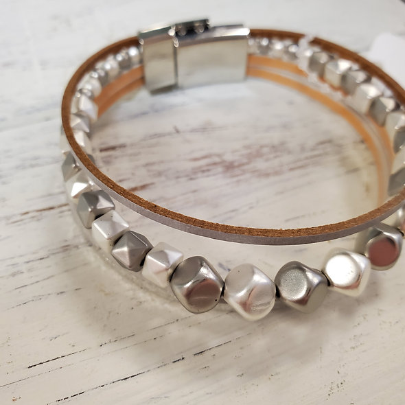 Grey and Silver Beaded Magnetic Bracelet