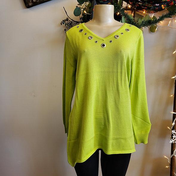 Lulu B Lime Green V Neck Grommet Top