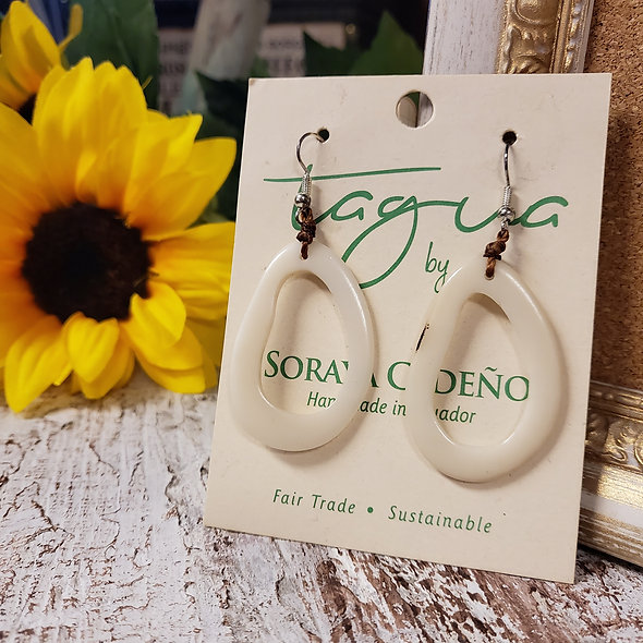 White Tagua Earrings