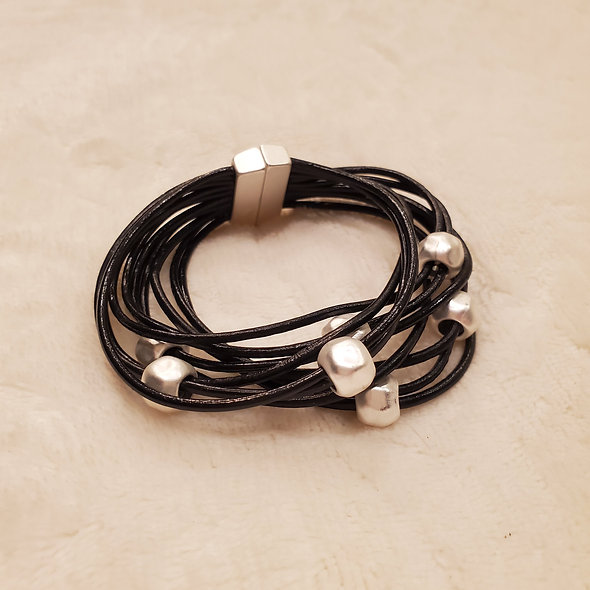 Black Beaded Magnetic Bracelet