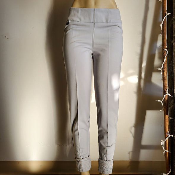 Lulu B Rolled Embroidered Cuff Pants