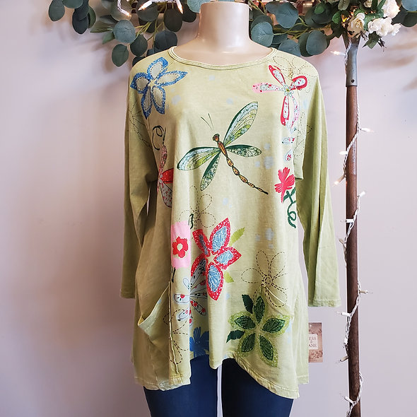 "Jess N Jane Green ""Good Times"" Pocketed Tunic Top"