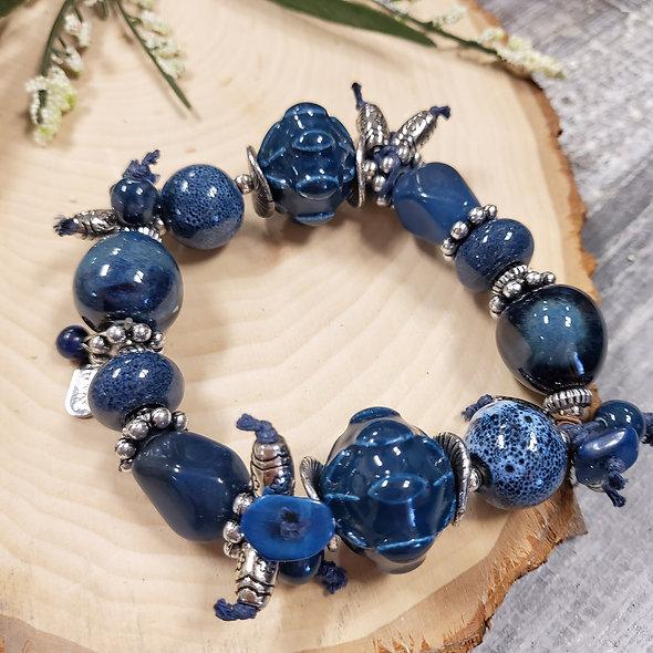 Treska Collections Vintage Finds Blue Beaded Bracelet