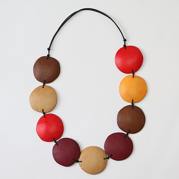 Earth Tone Disc Laura Necklace