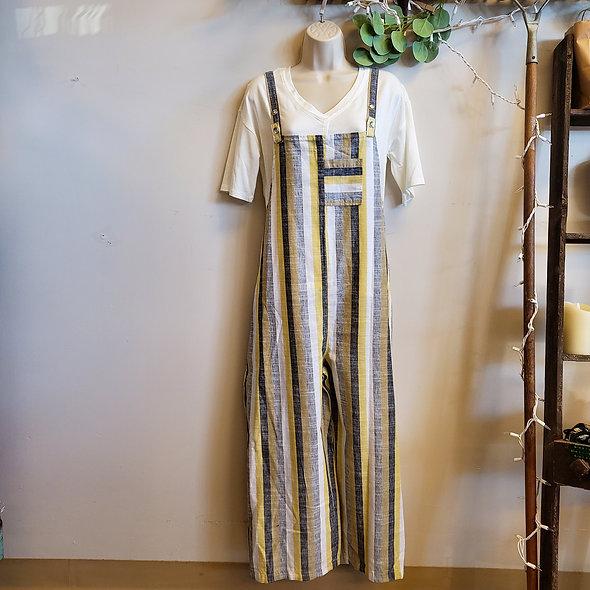 Fenini Striped Overalls Jumpsuit