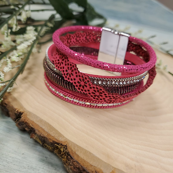 Hot Pink Lace and Rhinestone Magnetic Bracelet