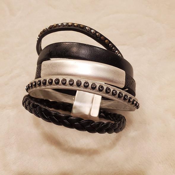 Matte Silver and Black Wide Magnetic Bracelet