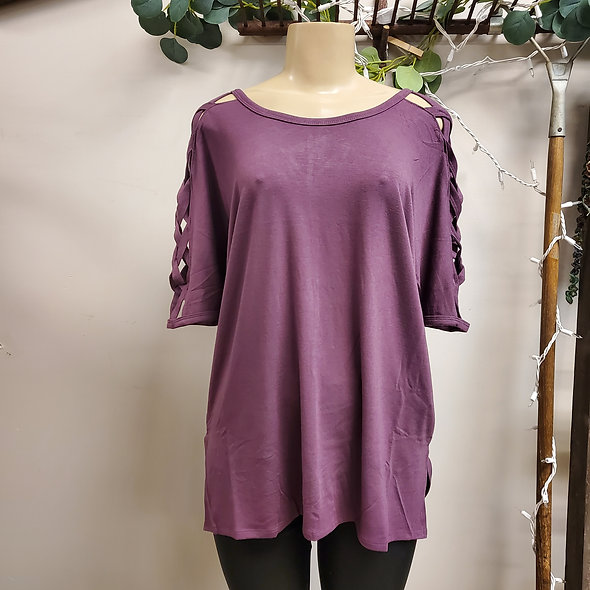 Criss Cross Cold Shoulder Plum Tee