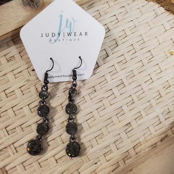 Black Rhinestone Drop Earrings