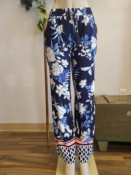 Tribal Navy and Coral Floral Wide Leg Pants