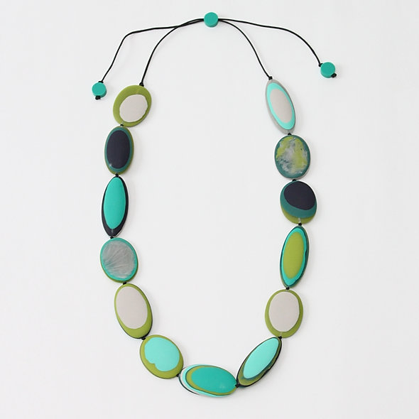 Multi Green Luna Necklace