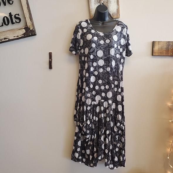 Black and White Polka Dot Midi Dress
