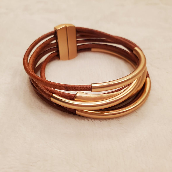 Gold and Cognac Magnetic Bracelet