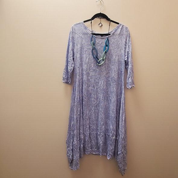 Shana Blue and White Striped Asymmetrical Bubble Dress