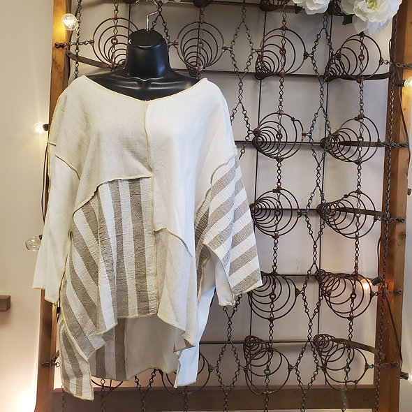 Et'Lois Oatmeal and Taupe Stripe Colorblock Tunic