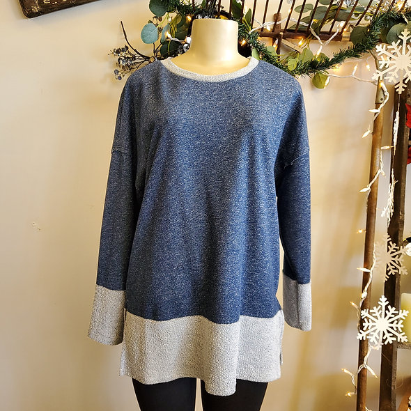Blue Heathered Colorblock Tunic Sweater