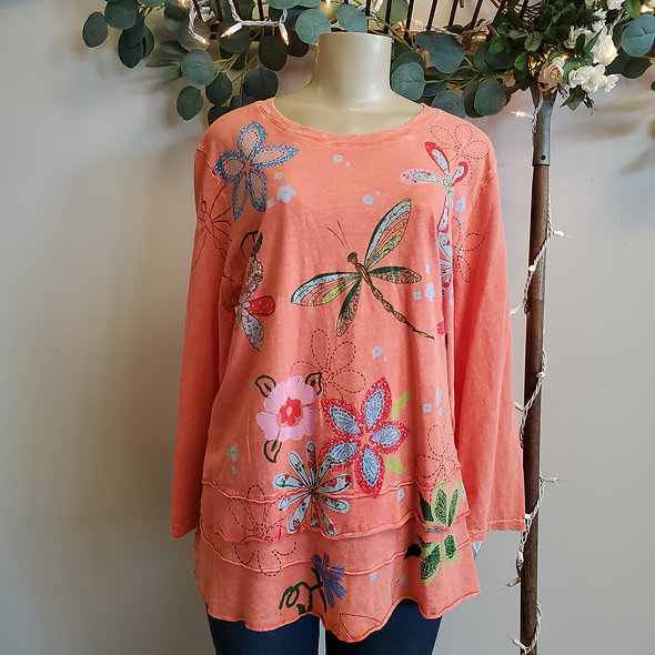 "Jess N' Jane Coral ""Good Times"" Top"