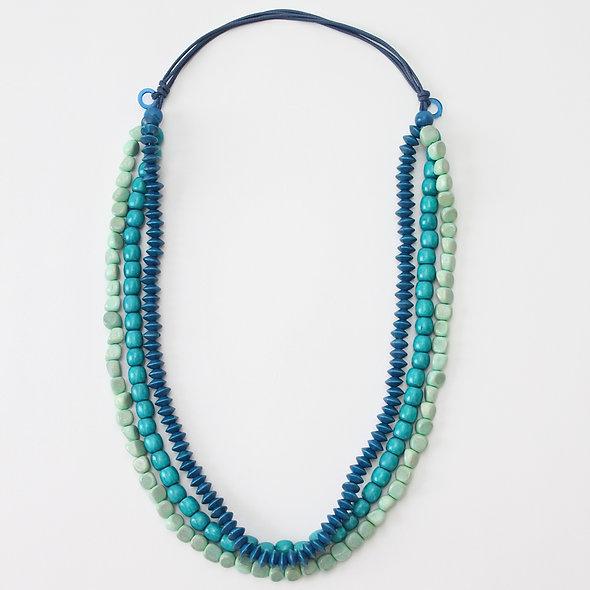 Ocean Five Strand Wooden Necklace