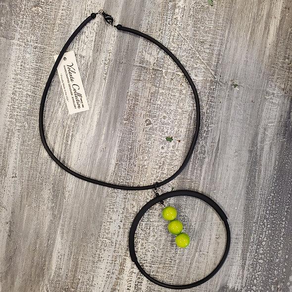 Yolanta Collection™ Rubber Orbital Lime Green Drop Necklace