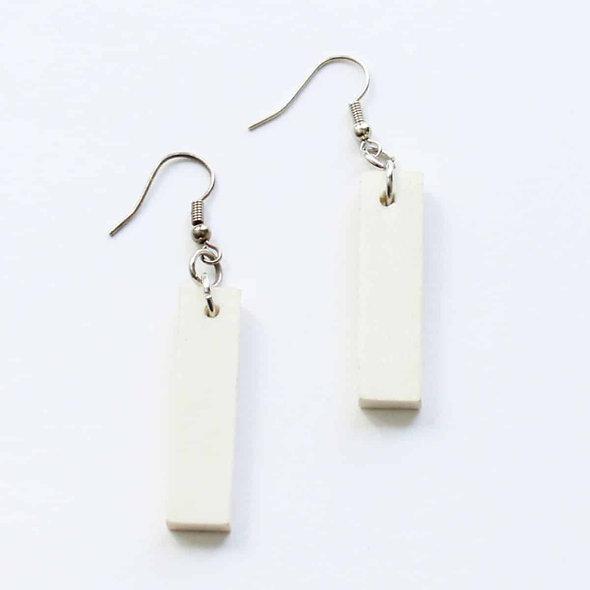 Rectangular Dangle Wooden Earrings in White