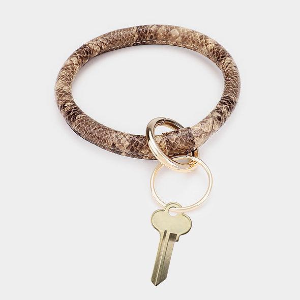 Faux Leather Snake Pattern Key Ring Bracelet
