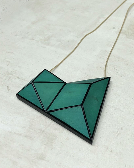 Sylca Geometric Cadence Necklace Green