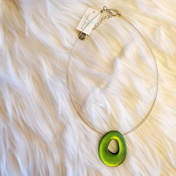 Bright Lime Green Pendant on Wire Necklace