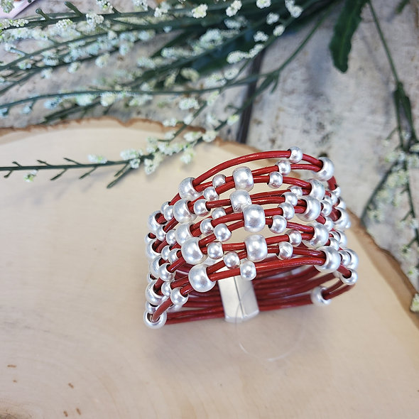 Wide Red Beaded Magnetic Bracelet