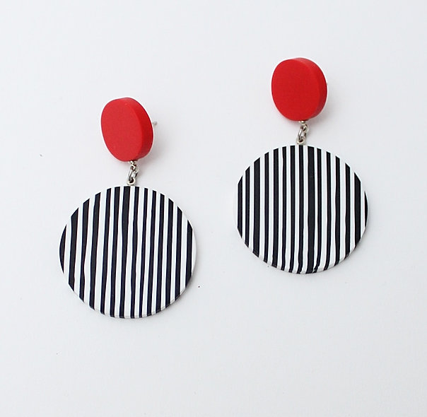 Resin Lana Earrings Black and White Stripes